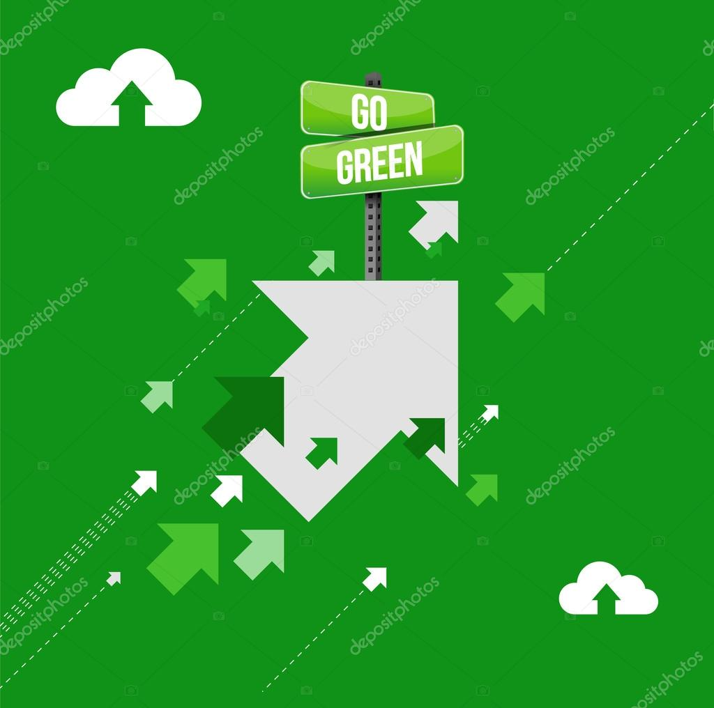 go green arrows up concept illustration