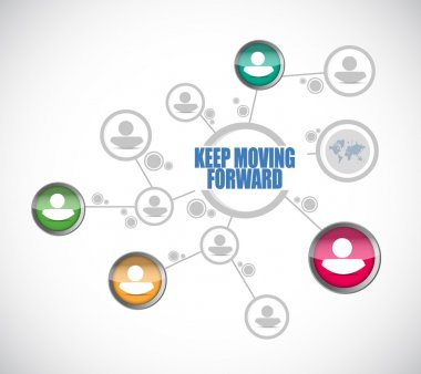 keep moving forward people diagram sign concept