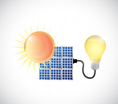 sun, solar panel and energy illustration