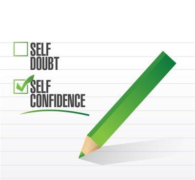 Self confidence check mark illustration design over a white background stock vector
