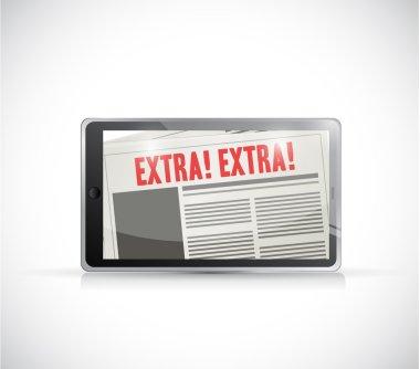 tablet extra news online illustration