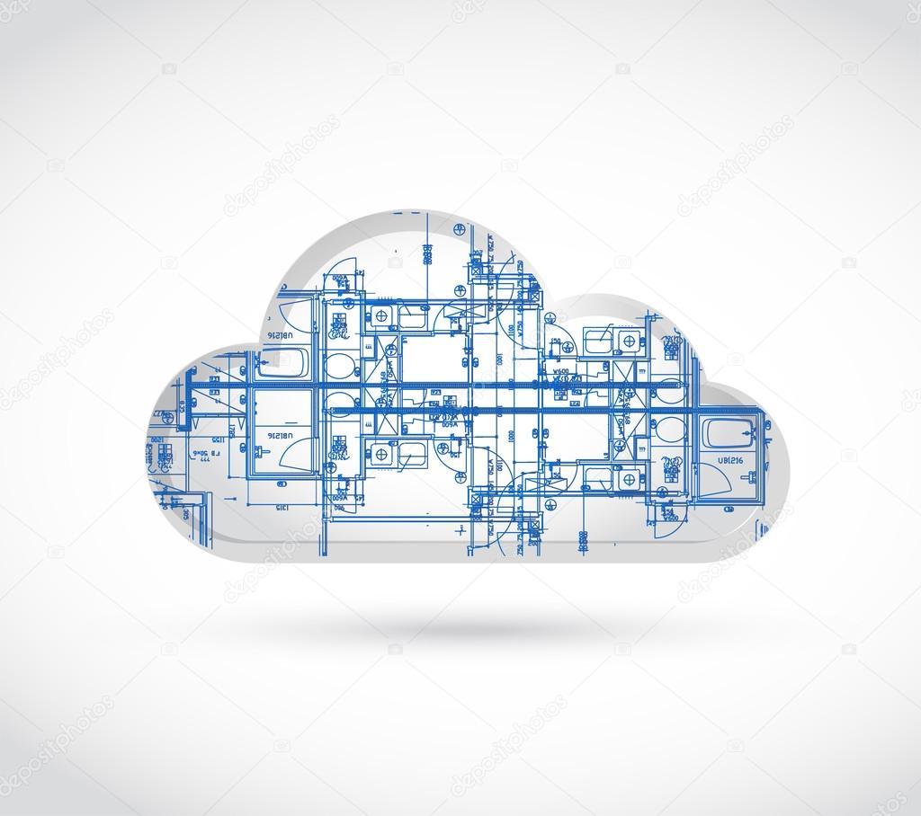 Cloud computing-Blaupause-Abbildung — Stockfoto © alexmillos #60132645