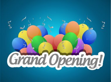 grand opening balloons card or sign