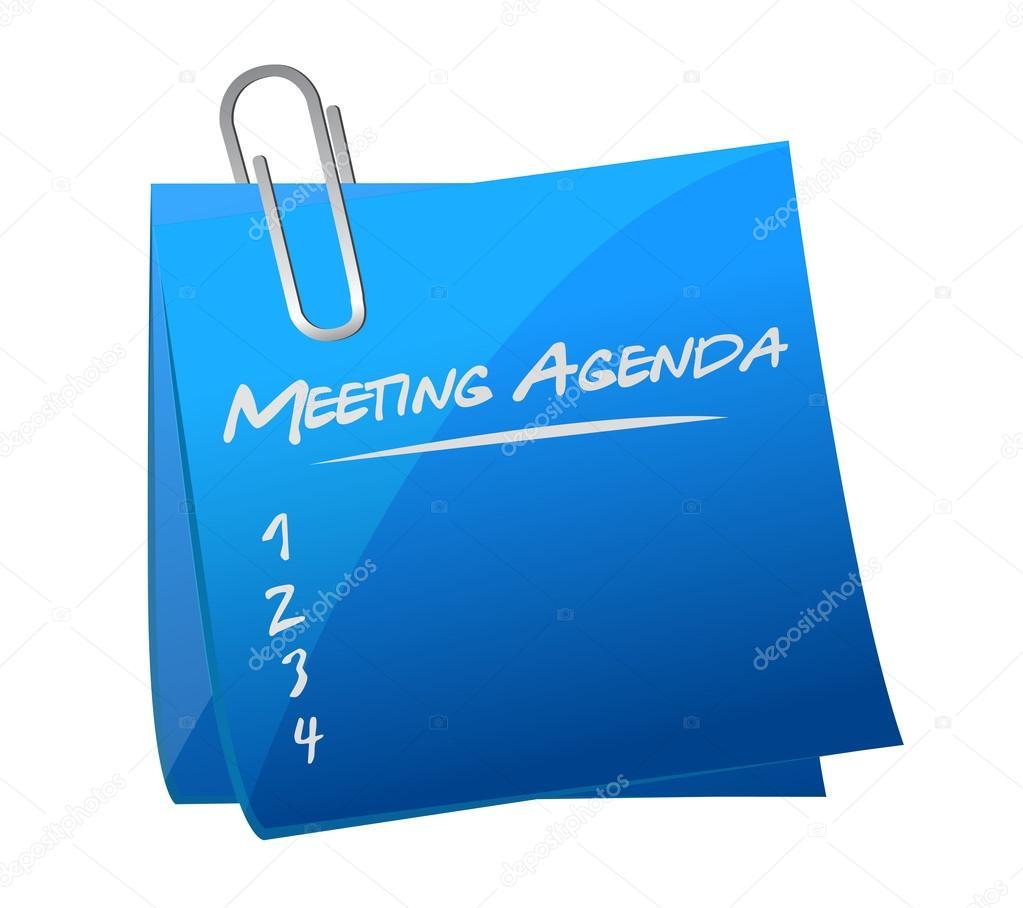 Ilustración de poste de memo de agenda de reunión — Foto de stock ...