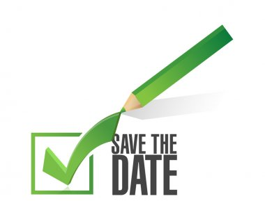 save the date check mark pencil illustration