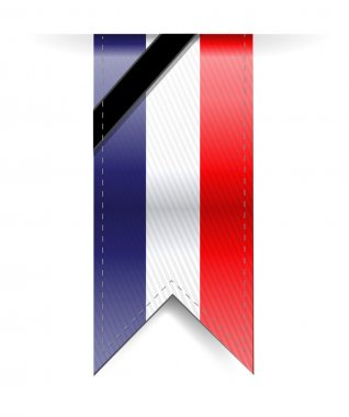france sad black ribbon banner illustration