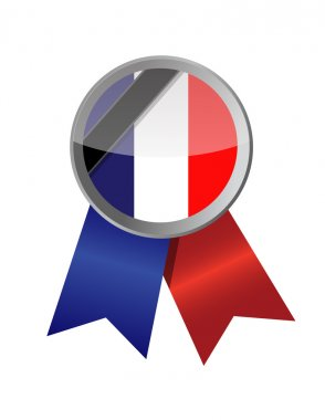 france seal and black ribbon illustration