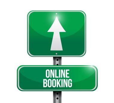 online booking street sign illustration