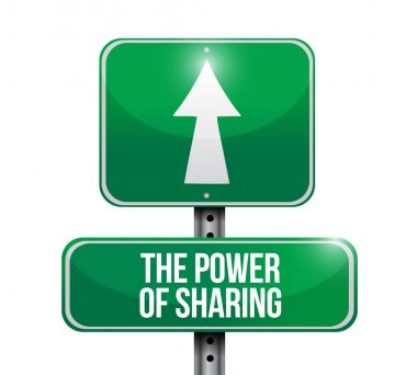 the power of sharing road sign illustration