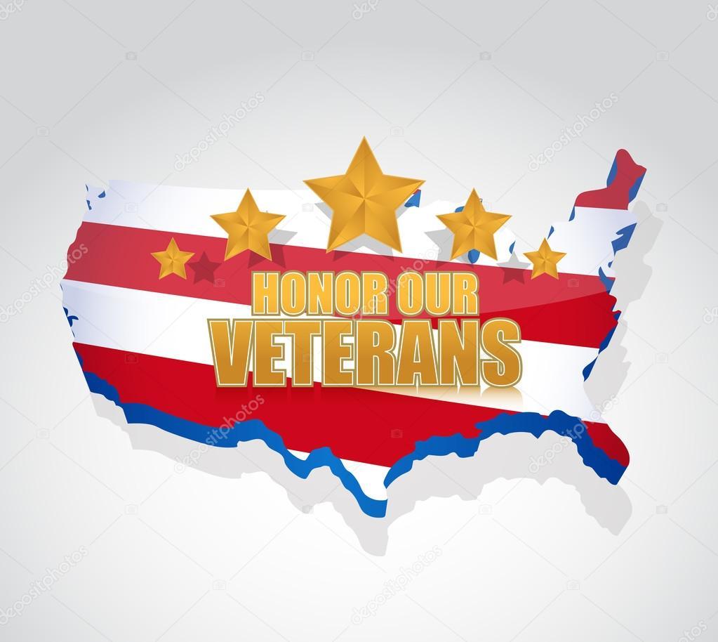 Honor our veterans us map illustration design Stock Photo