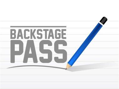 backstage pass message sign illustration design