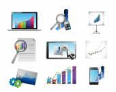Geschäft Symbolsatz Berichterstattung Konzept Abbildung