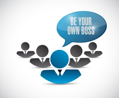 be your own boss team message illustration design