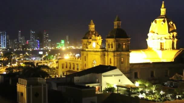 Cartagena, Kolumbien Nacht Zeitraffer. Timelapse