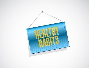 healthy habits banner sign concept illustration