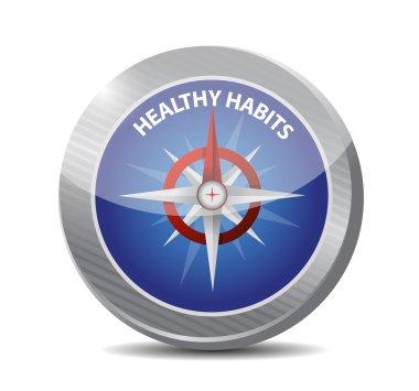 healthy habits compass sign concept