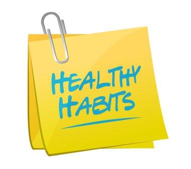 healthy habits memo post sign concept