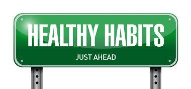 healthy habits road sign concept