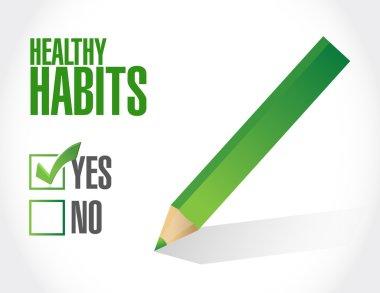 healthy habits check mark sign concept