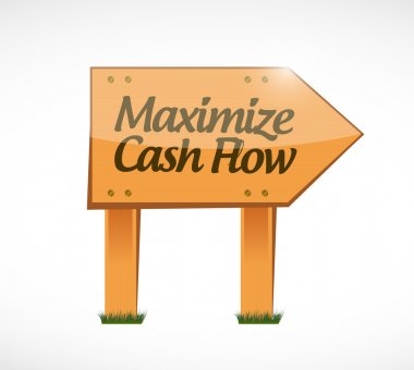 maximize cash flow wood sign illustration design