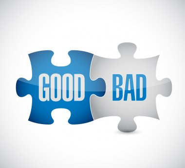 good and bad puzzle pieces sign