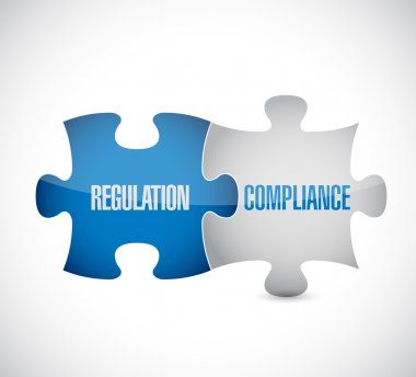 regulation and compliance puzzle pieces sign