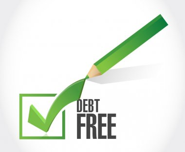 debt free check mark sign concept