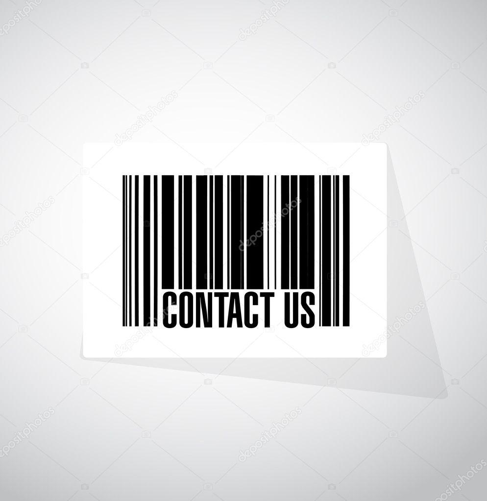 Contacte con nosotros en concepto de señal de código de barras ...