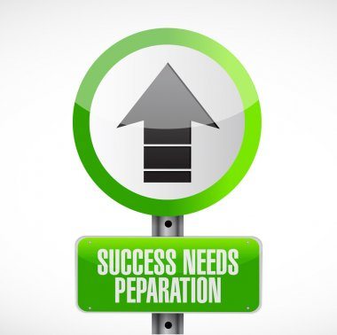 success needs preparation street sign