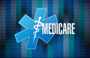 Medicare binary sign concept illustration design