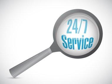 24-7 service magnify sign concept