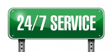 24-7 service road sign concept