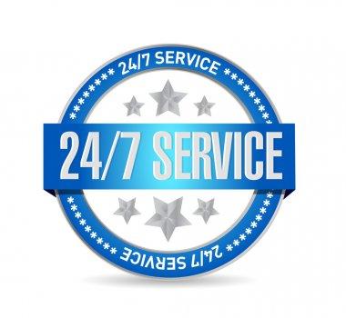 24-7 service seal sign concept illustration