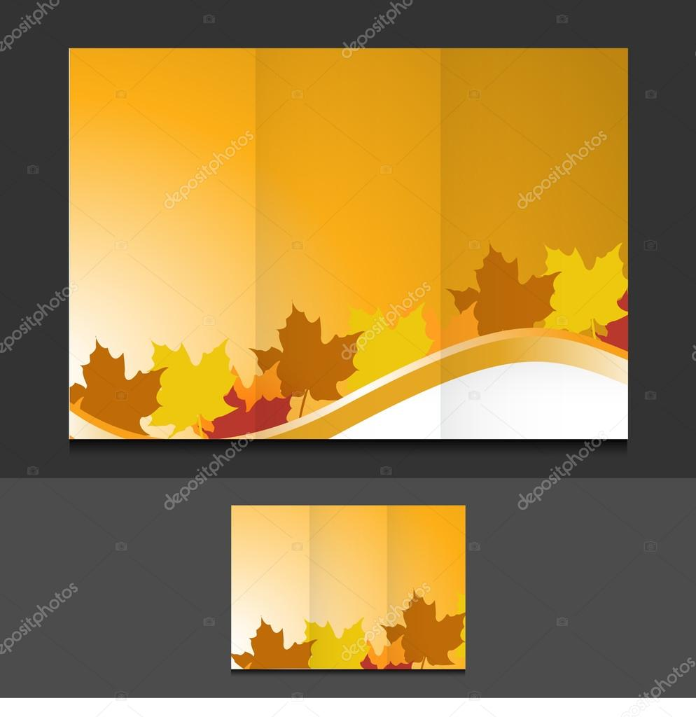 tri fold autumn leaves template illustration