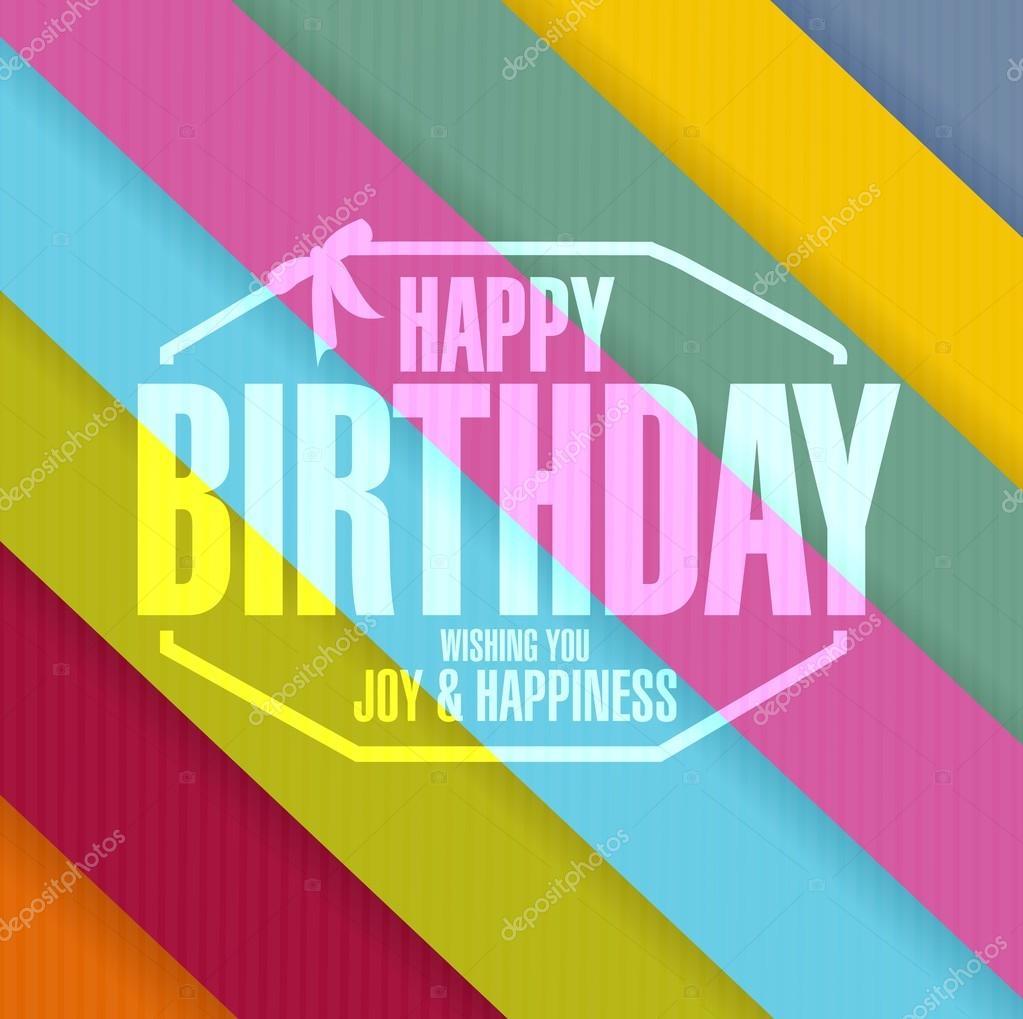 Happy Birthday Stempel Linie Farben Hintergrund — Stockfoto ...