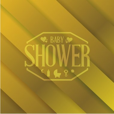 baby shower sign over a gold background