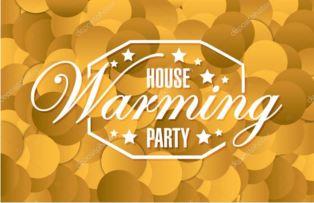 Haus Erwärmung Partei Goldkarte Hintergrund Zeichen — Stockfoto ...