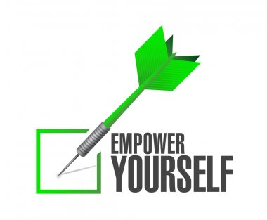Empower Yourself check dart sign concept