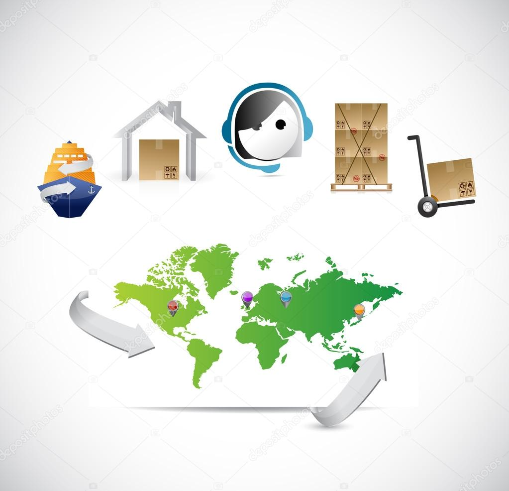 World map customer service logistics control stock photo world map customer service logistics control illustration design photo by alexmillos gumiabroncs Choice Image