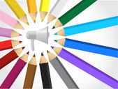 megaphone and colors illustration design isolated over white