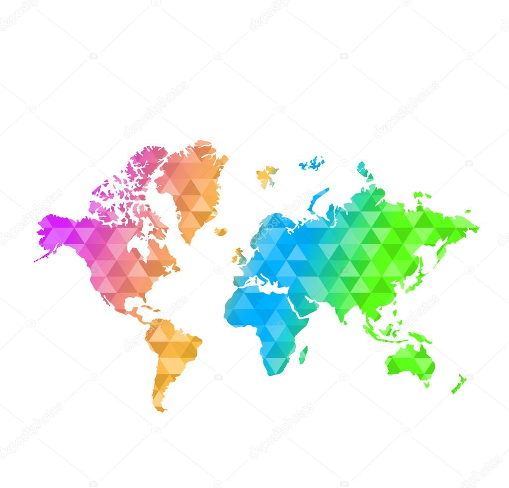Triangle shape multi color world map stock photo alexmillos triangle shape multi color world map illustration design graphic photo by alexmillos gumiabroncs Gallery