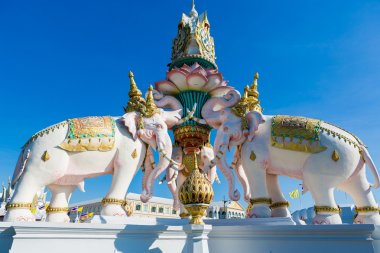 Pink elephant statue near Grand Palace or Wat Phra Kaew in Bangk