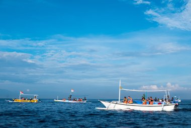Tourists in various small boats looking for dolphins in Lovina,