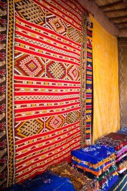 Traditional oriental fabrics in Ouarzazate, Morocco