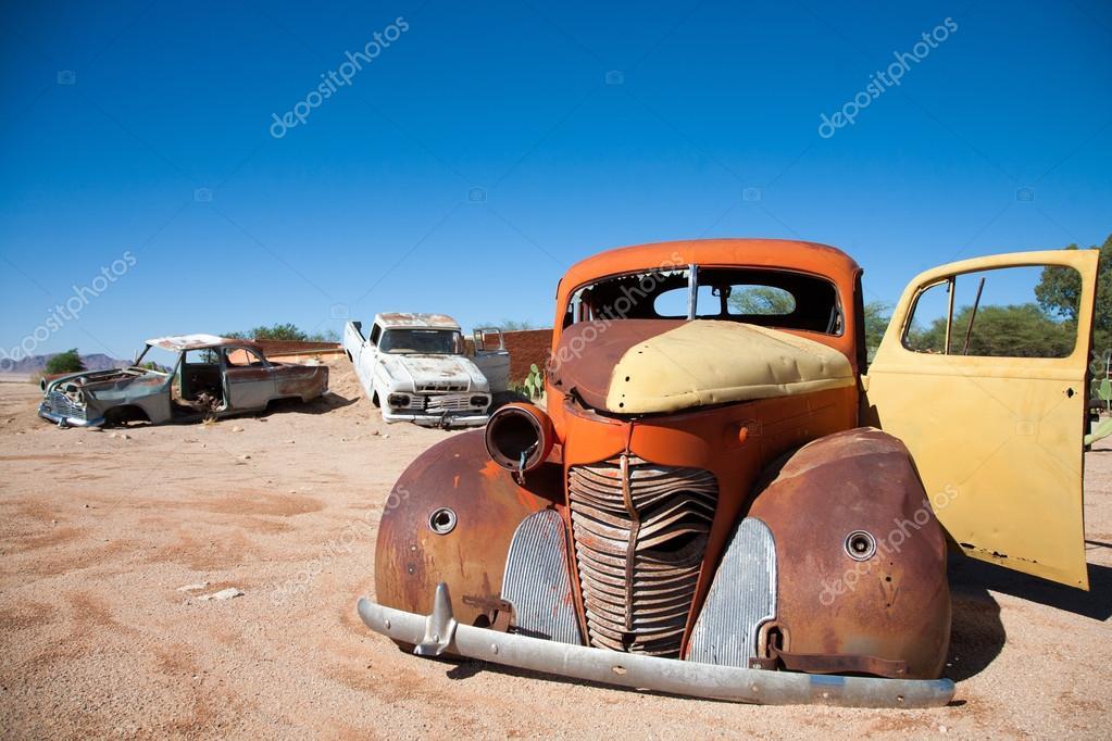 Vintage Car Wrecks in the desert of Namibia — Stock Photo ...