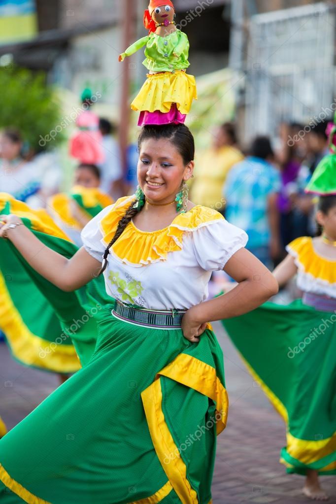 Woman dancing during Carnival, Galapagos Islands