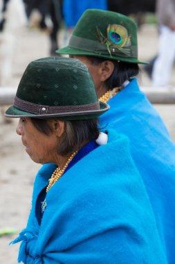 Women from the Mestizo ethnic group in Otavalo, Ecuador