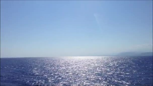 Aegean sea and sky horizon with Santorini Island