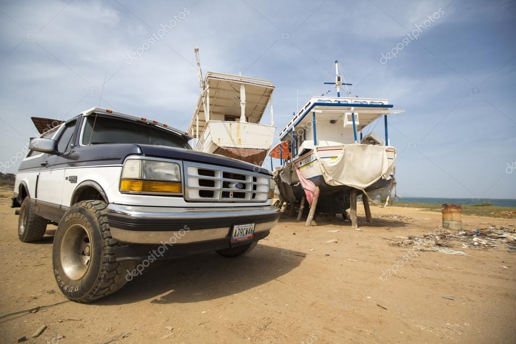 4x4 car and ships in shipyard in Margarita Island, Venezuela