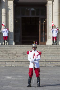 President Palace guards at work in historic center, Lima
